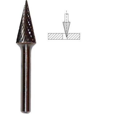 Frez M stożkowy Fi 12 x 25 x 6 węglik