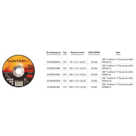 Tarcza Cubitron II T27, 94002-Q 125x7x22,23